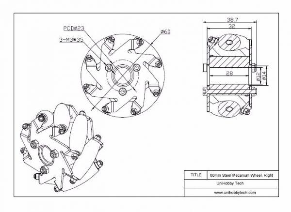 CasterBot 2.4 inch 60mm Mecanum Wheels Load Capacity 10kg Compatible for LEGO/TT Motor/DC Motor/Servo Motor(4 Pcs/Pack)