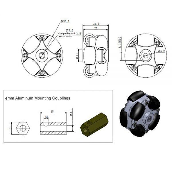1.5 inch 38mm 90° omni wheel 14184