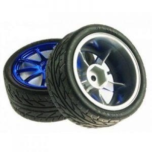 65mm Robot Wheel Blue Rubber wheels Pair