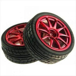 65mm Rubber Wheel Red Robot wheels Pair