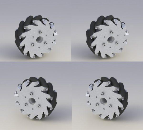 CasterBot 127mm Aluminium Mecanum Wheels 5 Inch Bearing Rollers Load capacity 45kg/Set