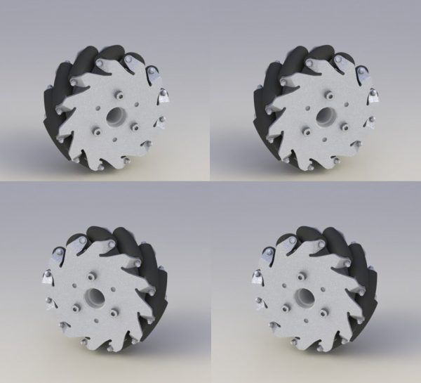 5 Inch Aluminium Mecanum Wheels 127mm Load Capacity 45kg/Set