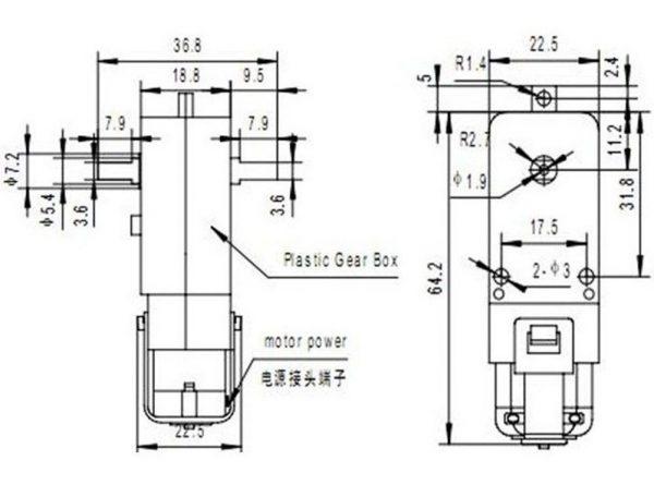 TT Motors 3-6V Dual Shaft 148 Reduction Ratio 125RPM