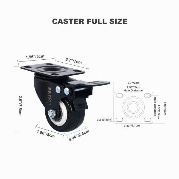2inch Swivel Caster Wheels with Locking Heavy Duty Casters Wheels 150 Lbs Per Castor