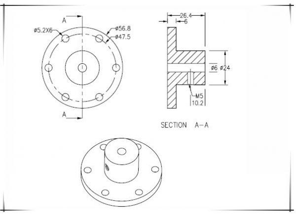 6mm Motor Shaft Coupling Hub for Mecanum / Omni Wheel