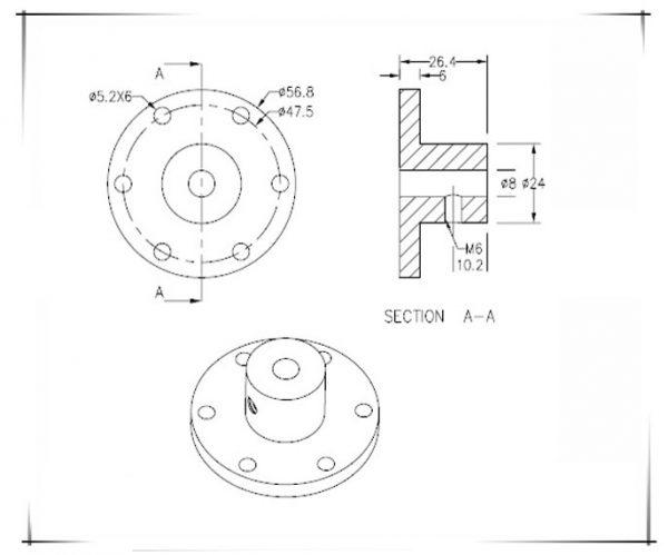 8mm Motor Shaft Coupling Hub Use for Mecanum Wheels