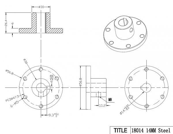 14mm Coupling CB18014 Stainless Steel Key Hub for Mecanum Wheels