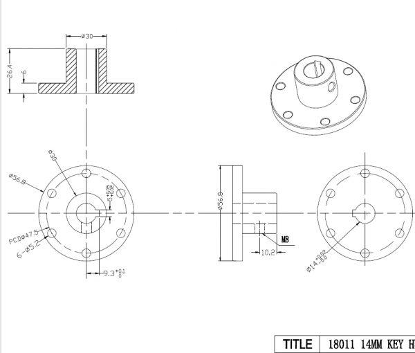 14mm Keyway Coupling CB18011 Aluminum hubs for Mecanum Wheels