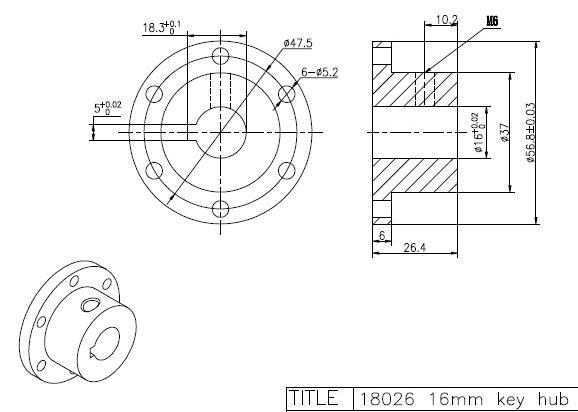 16mm Keyway Coupling CB18026 Aluminum Hubs for Mecanum Wheels