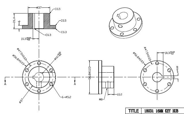 CasterBot 16mm Keyway Coupling CB18031 Stainless Steel Key Hub for Mecanum Wheels