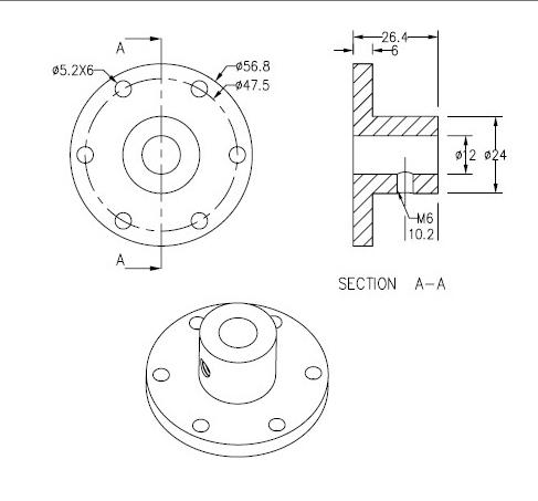 CasterBot 12mm Coupling CB18010 Aluminum Hubs for 12mm Motor Shaft